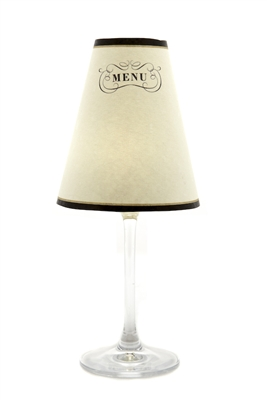 Set of 6 Paris Menu translucent paper white wine glass shades.  All one pattern.  Allows you to customize your shade for every meal.  Available in parchment and white.  Made in the USA.