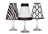 Manhattan White Wine Glass Shades Set of 6 by di Potter zebra fret and border pattern in black white or gray modern animal print signature collection add to a wine glass with a flameless tea light