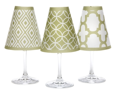 Coordinating fret, circle, and diamond pattern paper white wine glass shades. Available in isle blue, fiesta orange and oasis green.  Made in the USA.