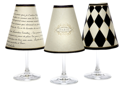 Set of 6 coordinating Paris street sign, harlequin and love poem pattern translucent paper red wine glass shades by di Potter.  Available in parchment.  Made in the USA.