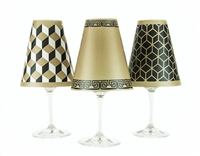 Modern geometric cube, greek key, and 3D line pattern paper white wine glass shades.