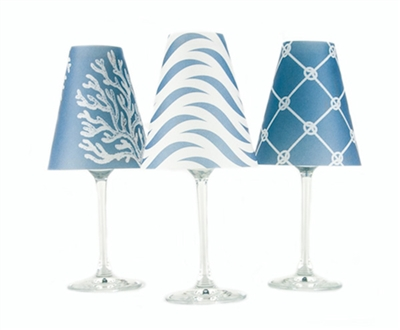 Set of 6 costal coordinating wave, rope and nautical reef pattern translucent paper white wine glass shades.  Available in sea blue, whitewash and fog gray.  Made in the USA.