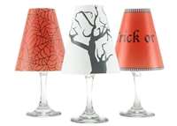 Halloween Trick or Treat White Wine Glass Shades - Set of 6 by di Potter tree spider web orange white black vellum paper wine glass and flameless tea lights