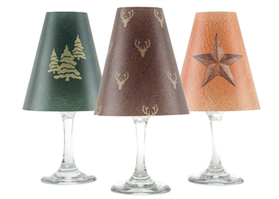 Holiday Modern Rustic White Wine Glass Shades - Set of 6 by di Potter Green brown gold star trees modern deer wine glass with flameless tea lights