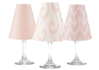 Coordinating Ikat brick, swirl and diamond paper white wine glass shades. Available in Bahama Blue, Aqua, Rose and Midnight Blue  Made in the USA.