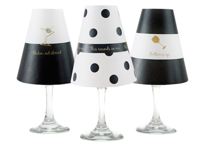 Coordinating polka dot, stripe and bold paper white wine glass shades. Available in Bahama Blue, Aqua, Rose and Midnight Blue  Made in the USA.