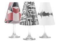 Set of 6 coordinating geometric, abstract and soundwave pattern translucent paper white wine glass shades by di Potter.  Made in the USA.