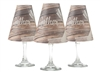 Holiday Gather translucent paper white wine glass shades by di Potter.  6 thanksgiving pattern shades.  Made in the USA.