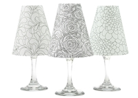 Set of 6 coordinating roses, leaves and zinnias pattern translucent paper white wine glass shades by di Potter.  Intended to be colored in using either colored pencils or markers.  Made in the USA