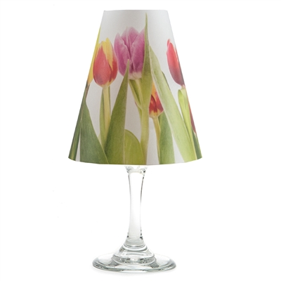Floral tulip pattern translucent paper white wine glass shades.    Made in the USA.