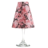 Floral bright rose pattern translucent paper white wine glass shades.    Made in the USA.