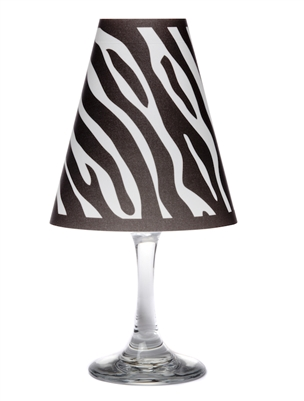 Zebra White Wine Glass Shades Party Pack by di Potter black white gray paper vellum animal print wine glass with flameless tea light