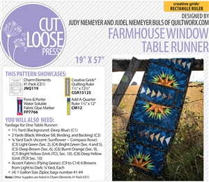 Cut Loose Press Farmhouse Window Table Runner and Charm Elements Pack #1