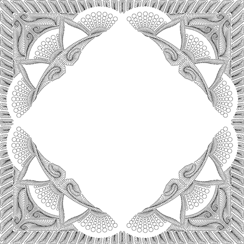 Dinner Plate Dahlia Queen Border Quilting Pattern