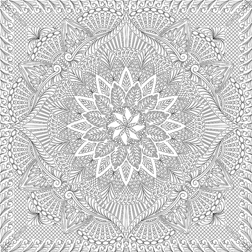 Dinner Plate Dahlia Queen Quilting Pattern
