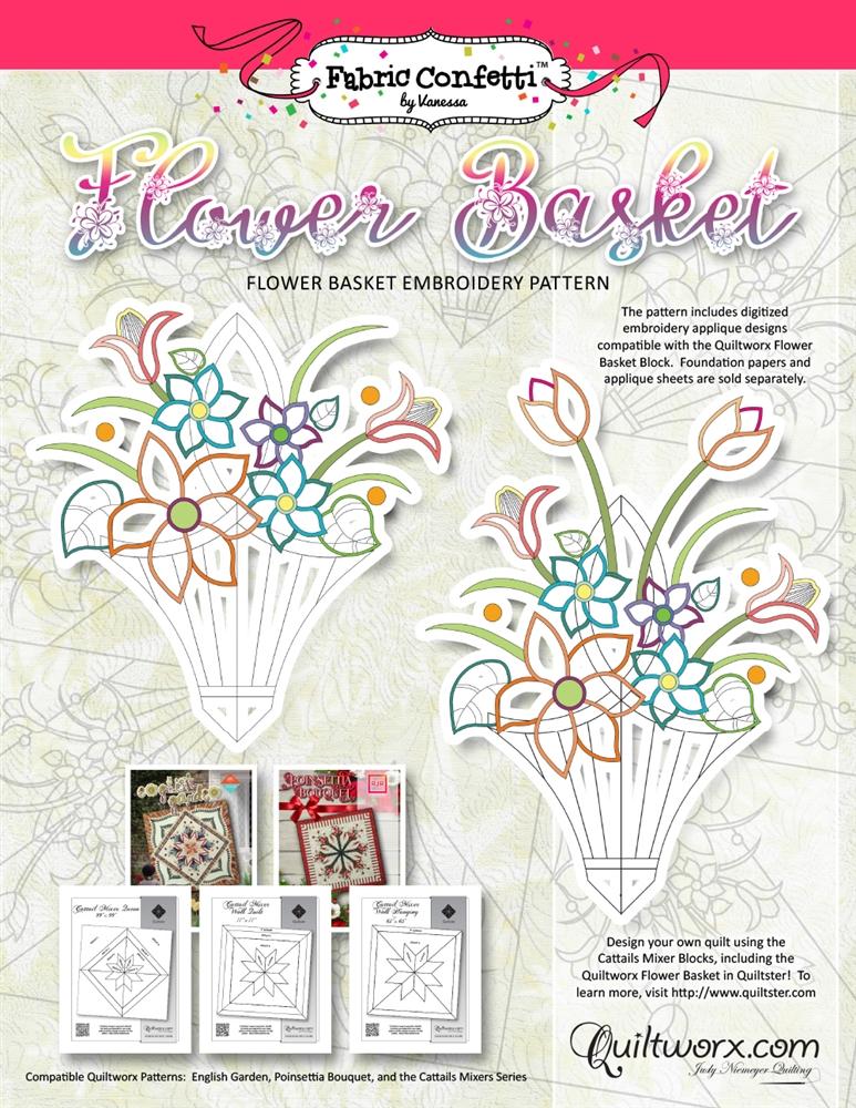 Flower Basket Embroidery Pattern Digital Download