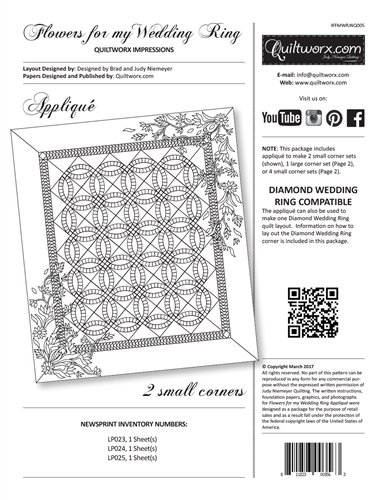 Quiltworx Impressions Flowers for my Wedding Ring Applique Kit Only