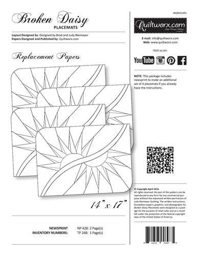 Broken Daisy Placemats Replacement Papers