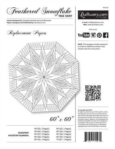 Feathered Snowflake Tree Skirt Replacement Papers