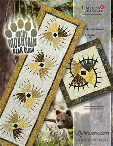 Rocky Mountain Bear Claw Table Runner and Pillows