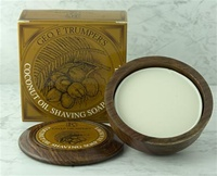 Trumper's Coconut Oil Hard Shaving Soap in Wooden Bowl 80g