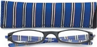 Zoom Expressions Half-Eye reader with Neoprene Case - Blue & White Stripe