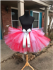 Red and white tutu with silver glitter bow clip