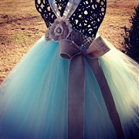 Aqua & Ivory Couture Flower Girl Tutu Dress