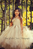 Burlap and Lace Couture Flower Girl Tutu Dress
