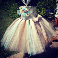aqua burlap and lace couture Tutu Dress