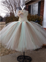 burlap and lace couture mint accents tutu dress