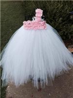 simply white couture tutu dress with light pink accents
