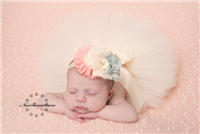 peach, ivory and aqua boutique headband