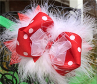 Christmas red polka dot bow and green headband
