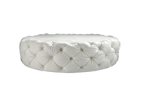 Contemporary Round Diamond Glass Button White Leather Ottoman