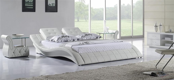 Cuare White Leather Pillowtop Bed CP-B1115