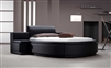 Modern Black Leather Round Bed with Drawers and Storage T10