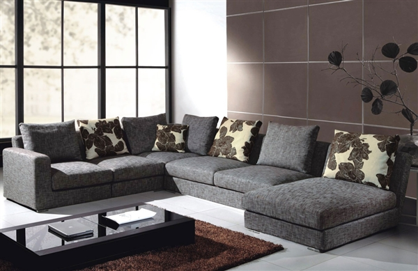 Gray Fabric Sectional Sofa TOS-ANM9619-3