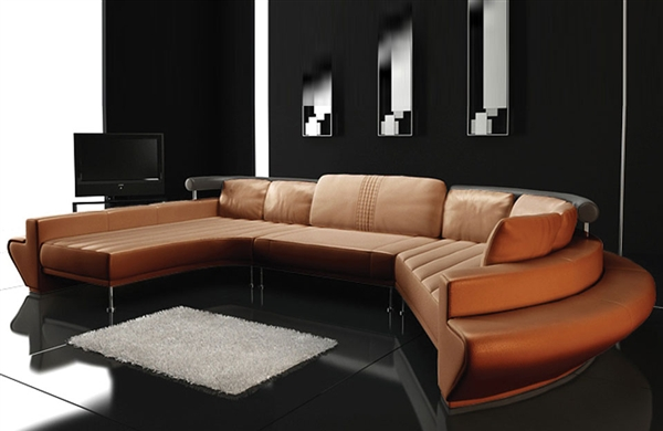 Ultra modern leather sectional sofa set tos lf 2056 for Ultra modern leather sectional sofa set