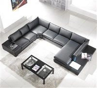 Modern Black Leather Sectional Living Room Furniture TOS-LF-2066