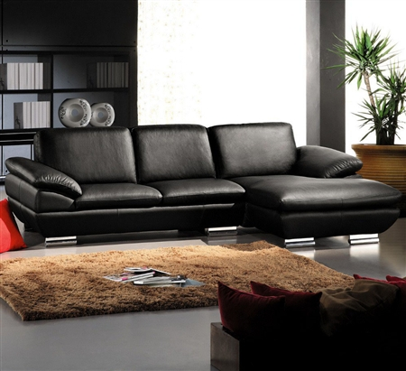 Black Leather Sectional Sofa TOS-LF-CL-269ANG-2ST