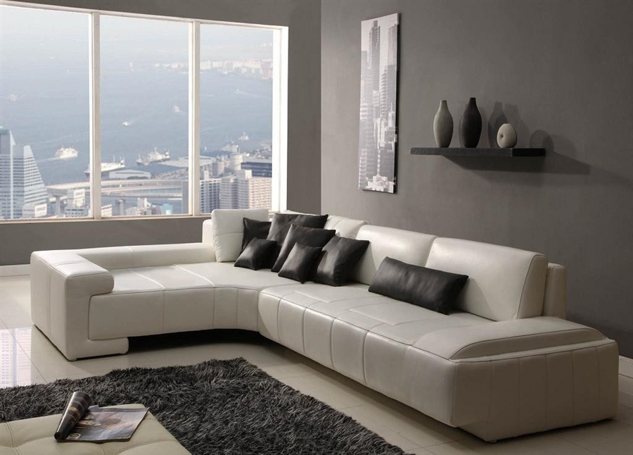 Franco collection modern sectional sofa white tos rf for V shaped living room