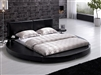 Modern Black Leather Headboard Round Bed - King TOS-T009-BLK-K