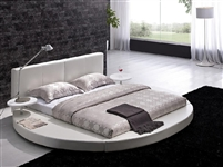 Modern White Leather Headboard Round Bed - King TOS-T009-WH-K