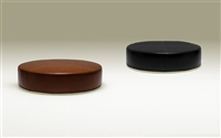 Contemporary Round Leather Ottoman - Chocolate Brown TOS-TIK-100202