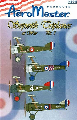 AeroMaster #48-745 1/48 Sopwith Triplanes at War Part 1 Decal Sheet