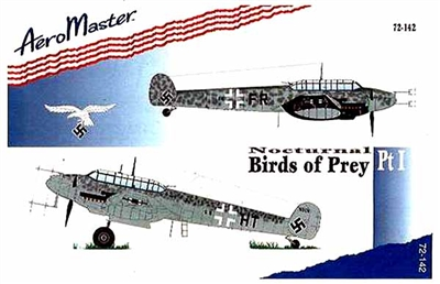 AeroMaster #72-142 1/72 Nocturnal Birds of Prey Pt 1 Bf 110 Decal Sheet