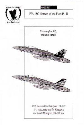 Eagle Strike Productions #48003 1/48 F/A-18C Hornets of the Fleet Pt. II Decal Sheet
