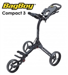 Bag Boy Compact 3 Push Cart - Matte Black/Silver