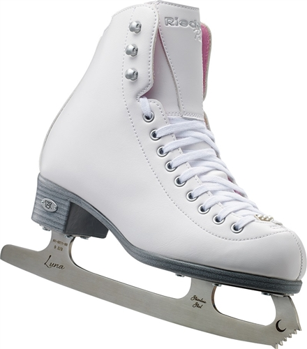 Girls' Riedell 14 Pearl White Ice Skates with Luna Blades